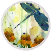 Dragonfly In The Wildflowers Round Beach Towel
