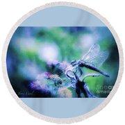 Dragonfly On Lantana-blue Round Beach Towel