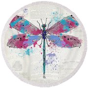 Dragonfly On Newsprint-jp3453 Round Beach Towel