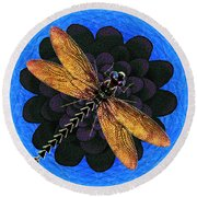 Round Beach Towel featuring the digital art Dragonfly Snookum by Iowan Stone-Flowers