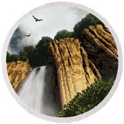 Round Beach Towel featuring the digital art Dragons Den Canyon by Richard Rizzo