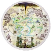 Dragons Of The World Round Beach Towel by The Dragon Chronicles - Garry Wa