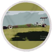 Round Beach Towel featuring the photograph Dragster Flower Bed by Bill Thomson