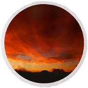 Drama At Sunrise Round Beach Towel