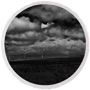 Drama In Black And White Round Beach Towel