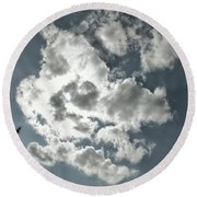 Drama In The Sky Round Beach Towel by Karen Stahlros