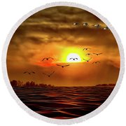 Drama In The Sky Round Beach Towel
