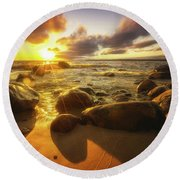 Drama On The Horizon Round Beach Towel