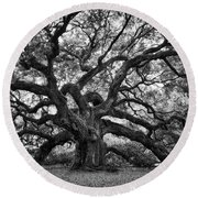 Dramatic Angel Oak In Black And White Round Beach Towel