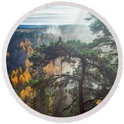 Dramatic Autumn Forest With Trees On Foreground Round Beach Towel