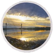Dramatic Cape Cod Canal Sunrise Round Beach Towel by Amazing Jules