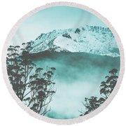 Dramatic Dark Blue Mountain With Snow And Fog Round Beach Towel
