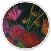 Dramatic Floral Still Life Painting Round Beach Towel