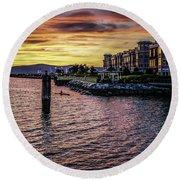 Dramatic Hudson River Sunset Round Beach Towel