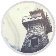 Dramatic Lighthouse Round Beach Towel by Edward Fielding