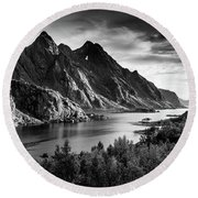 Dramatic Lofoten Round Beach Towel by Alex Conu