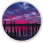 Dramatic Maine Sunrise Round Beach Towel