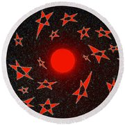 Round Beach Towel featuring the mixed media Dramatic Radiation  by Will Borden