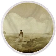 Dramatic Seascape And Woman Round Beach Towel
