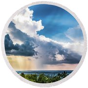 Round Beach Towel featuring the photograph Dramatic Sunrays Over The Valley by Shelby Young