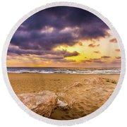 Dramatic Sunrise, La Mata, Spain. Round Beach Towel