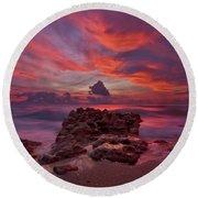Dramatic Sunrise Over Coral Cove Beach In Jupiter Florida Round Beach Towel