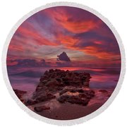 Round Beach Towel featuring the photograph Dramatic Sunrise Over Coral Cove Beach In Jupiter Florida by Justin Kelefas