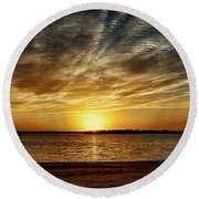 Dramatic Sunset Round Beach Towel