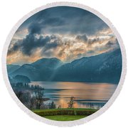 Dramatic Sunset Over Mondsee, Upper Austria Round Beach Towel by Jivko Nakev