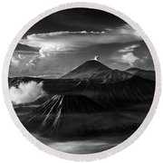 Dramatic View Of Mount Bromo Round Beach Towel