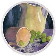 Drapes And Grapes Round Beach Towel by Lynne Reichhart