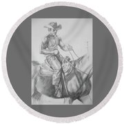 Drawing Pencil Cowboy On Horse #17119 Round Beach Towel