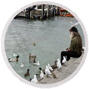 Dreadlocks Man Feeding Birds Round Beach Towel