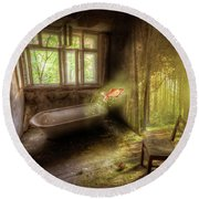 Round Beach Towel featuring the digital art Dream Bathtime by Nathan Wright