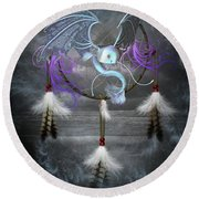 Dream Catcher Dragon Fish Round Beach Towel