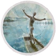 Round Beach Towel featuring the painting Dream Catcher by Gertrude Palmer