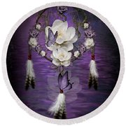 Dream Catcher Purple Flowers Round Beach Towel