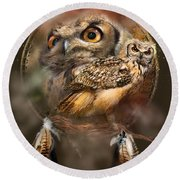 Dream Catcher - Spirit Of The Owl Round Beach Towel by Carol Cavalaris
