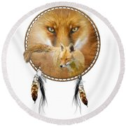Round Beach Towel featuring the painting Dream Catcher- Spirit Of The Red Fox by Carol Cavalaris