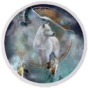 Dream Catcher - Spirit Of The White Wolf Round Beach Towel by Carol Cavalaris