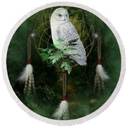 Dream Catcher White Owl Round Beach Towel