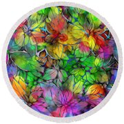 Round Beach Towel featuring the digital art Dream Colored Leaves by Klara Acel