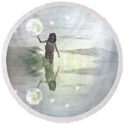 To Touch The Moon Round Beach Towel