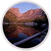 Round Beach Towel featuring the photograph Dream Lake by Gary Lengyel