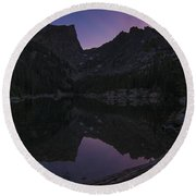 Dream Lake Reflections Round Beach Towel