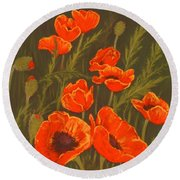 Round Beach Towel featuring the painting Dream Of Poppies by Anastasiya Malakhova