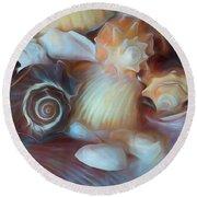 Dream Of Seashells Round Beach Towel
