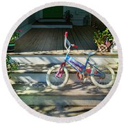 Dream On Bicycle Round Beach Towel by Craig J Satterlee