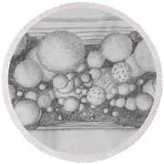 Round Beach Towel featuring the drawing Dream Spirits by Charles Bates