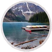 Moraine Lake, Ab  Round Beach Towel by Heather Vopni